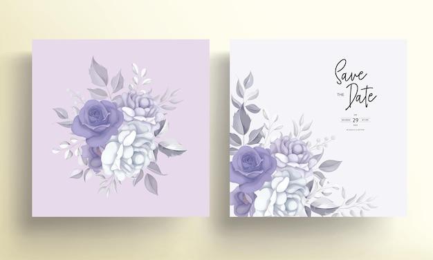 Moderne hochzeitseinladungskarte mit schöner lila blumendekoration