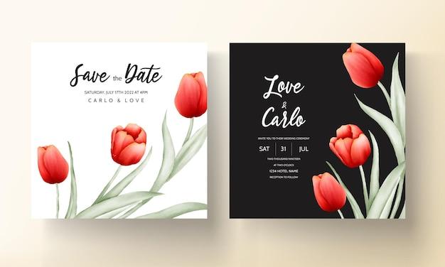 Moderne hochzeitseinladungskarte mit schöner roter tulpenblume Premium Vektoren