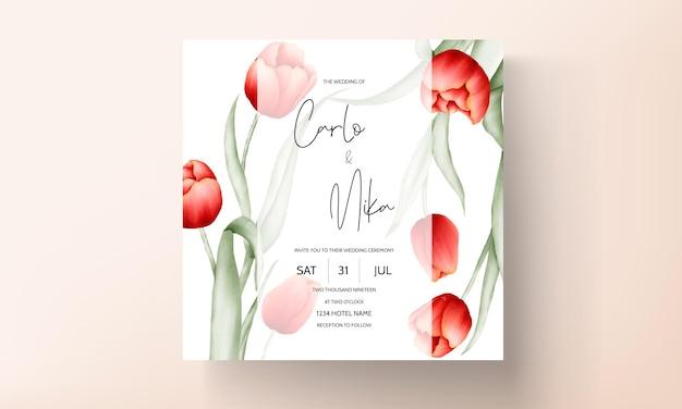 Moderne hochzeitseinladungskarte mit schöner roter tulpenblume