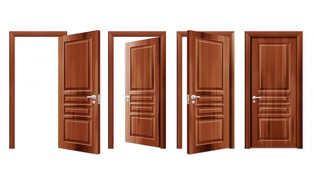 Moderne hölzerne geöffnete und geschlossene tür in verschiedenen positionen realistisches set isolierte illustration