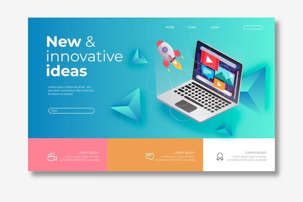 Moderne homepage mit isometrischem laptop