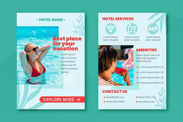 Moderne hotelfliegervorlage mit foto