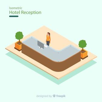 Moderne hotelrezeption mit flachem design