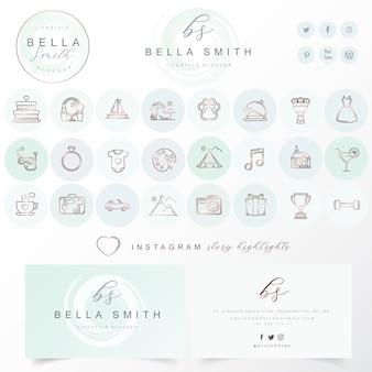 Moderne Ikone eingestellt mit editable Logoauslegung