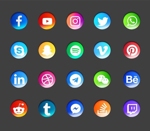 Moderne ikonen der sozialen medien eingestellt