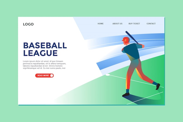 Moderne illustration baseball und landing page