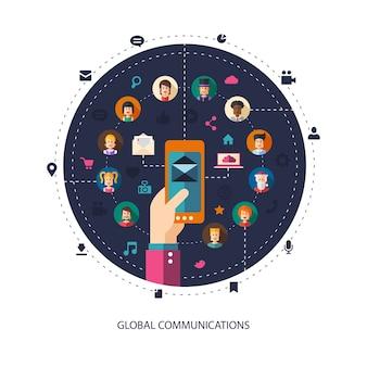 Moderne illustration der sozialen netzwerkgemeinschaft der menschen