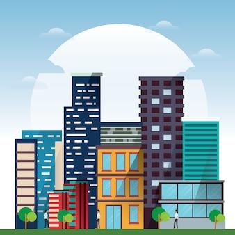 Moderne illustration der stadtlandschaft