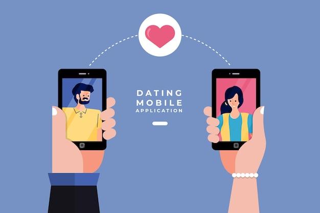 Moderne illustrationen concpt dating online-anwendung über hand hold mobile chat