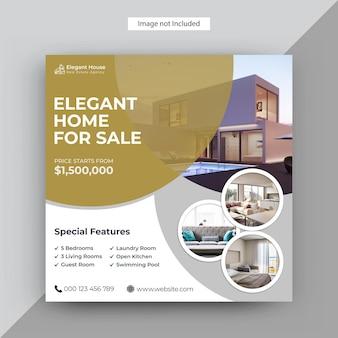Moderne immobilien instagram post, social media post vorlage