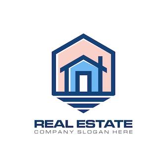 Moderne immobilien mit hexogen-logo