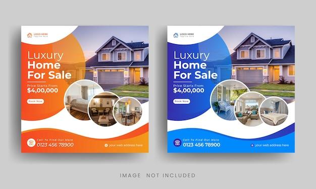 Moderne immobilien-social-media-post- oder instagram-banner-vorlage premium-vektor