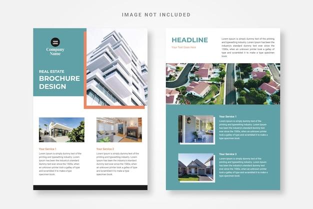 Moderne immobilienbroschüre-designvorlage kostenloser vektor