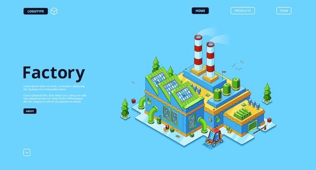 Moderne industriegebäude power landing page mit isometrischer ansicht.