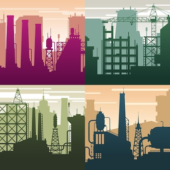 Moderne industrielandschaften. gebäudesilhouetten, ölgasindustrie. umwelt und ökologische situation, verschmutzungsvektorhintergrund. illustration industriearchitektur, machtstruktur skyline