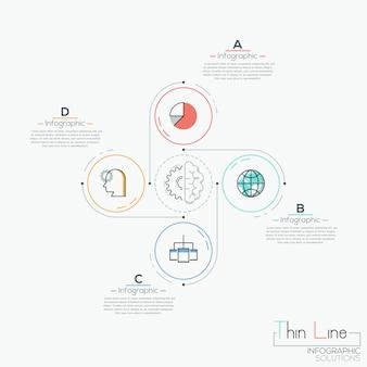 Moderne infografik, 4 runde elemente mit herumliegenden piktogrammen