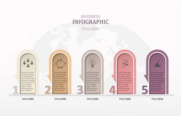 Moderne infografik 5-nummer und boxtext