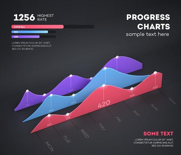 Moderne infografik-elemente auf hellem hintergrund. geschäftsgraph.
