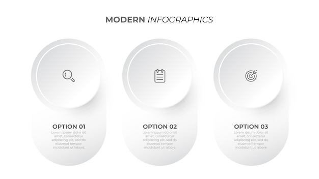Moderne infografik elemente kreis design mit marketing-ikonen geschäftskonzept mit drei optionen vorlage