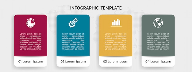 Moderne infografik-elemente mit optionen oder schritt.