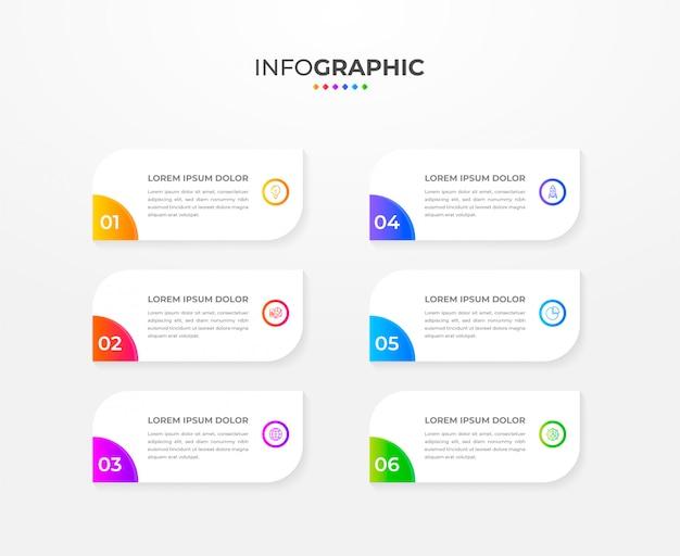 Moderne infografik-entwurfsvorlage mit farbverlauf mit sechs optionen oder schritten