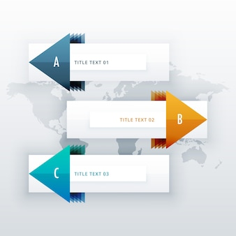 Moderne infografik für 3 optionen mit pfeil können in der präsentation oder business-workflow-layout verwendet werden