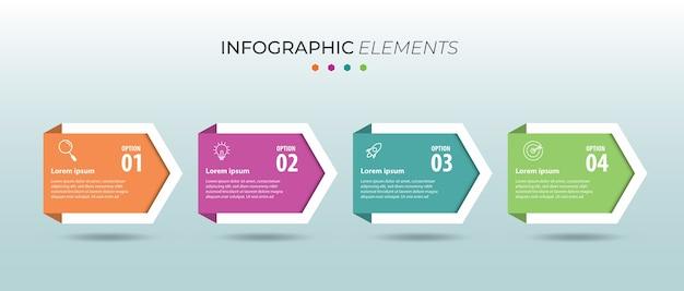 Moderne infografik-geschäftsvorlage mit 4 optionen, schritten, nummernschablonendesign