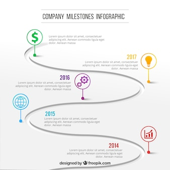 Moderne infografik mit firmenmeilensteinen