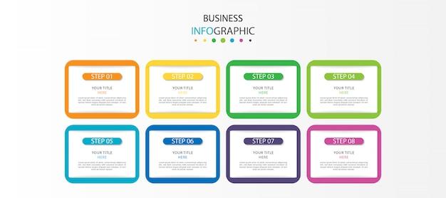 Moderne infografik mit sieben schritten oder optionen
