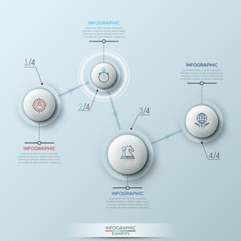 Moderne infografik mit vier schritten