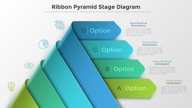 Moderne infografik-optionen-banner mit pyramide aus 4 realistisch geschwungenen bunten bändern. kann für webdesign und workflow-layout verwendet werden