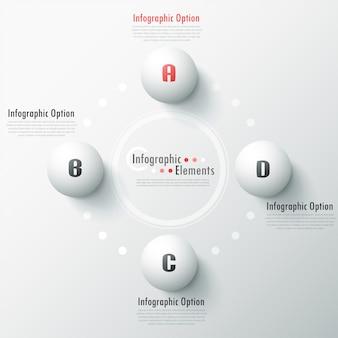 Moderne infografik-optionen banner mit weißen kugeln