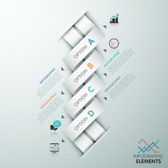 Moderne infografik optionsvorlage mit bändern