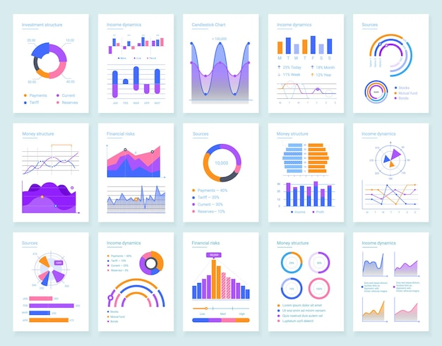 Moderne infografik-vektorvorlagen für die geschäftsanalyse eingestellt