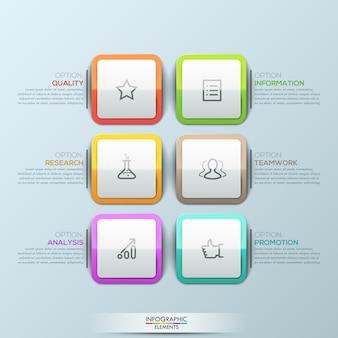 Moderne infografik-vorlage, 6 mehrfarbige abgerundete quadrate