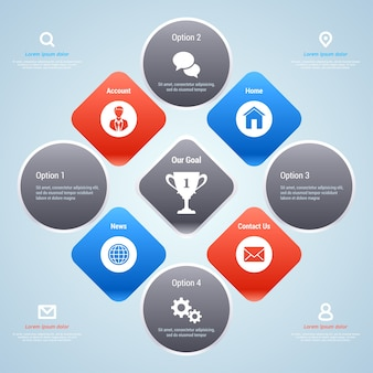 Moderne infografik-vorlage für unternehmen. optionsbanner.