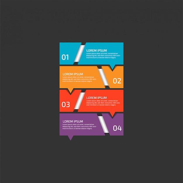 Moderne infografik-vorlage in vier schritten für business.