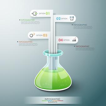 Moderne infografik-vorlage mit chemieflasche
