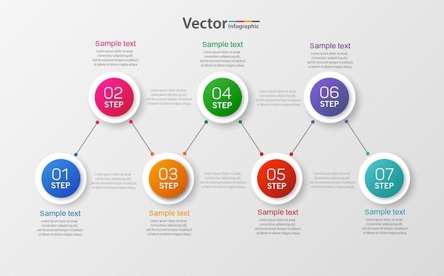 Moderne infografik-vorlage mit sieben schritten für das geschäft