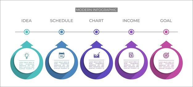 Moderne infografik-vorlage präsentationsgeschäfts-infografik mit fünf abschnitten