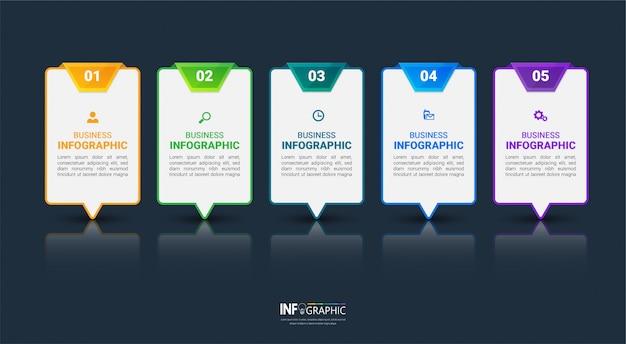 Moderne infografiken 5 schritte vorlage