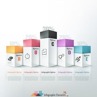Moderne infografiken der wahl 3d fahne