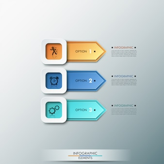 Moderne infografiken der wahl 3d mit pfeilen