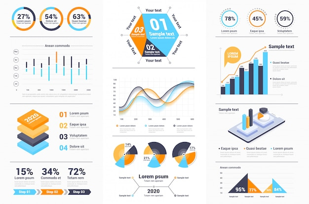Moderne infografiken designkollektion