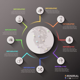 Moderne infografiken flache globale vorlage für 8 optionen