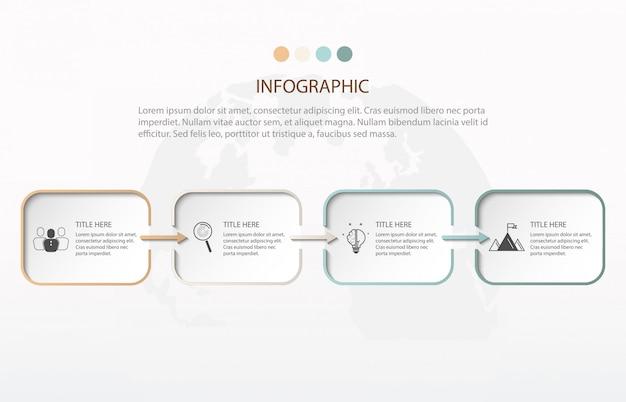 Moderne infografiken in vier schritten. diagrammelement, diagramm, diagramm mit 4 optionen.