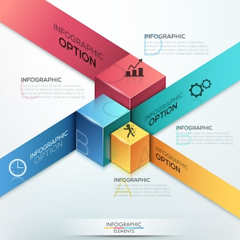 Moderne infografiken isometrische optionen vorlage