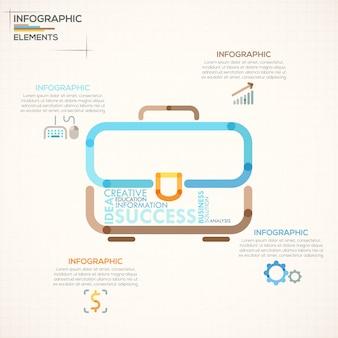 Moderne infografiken option banner mit bunten aktentasche