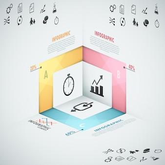 Moderne infografiken option banner mit realistischen formen 3d