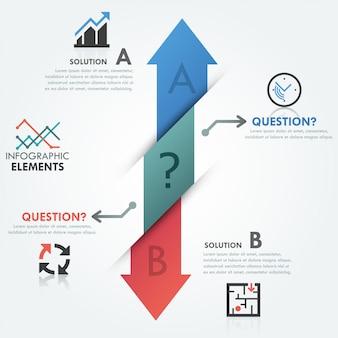 Moderne infografiken optionen banner mit 2 pfeilen
